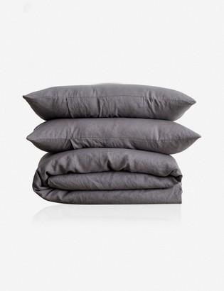 Lulu & Georgia Cultiver Linen Bedding, Charcoal Gray Duvet Set