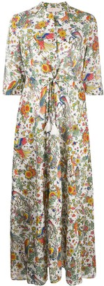 Tory Burch Peacock Flora Printed Cotton Shirt Dress