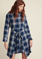 23905D Folks perusing your handcrafted wares are just as impressed by your work as they are by your plaid shirt dress! Your booth is the place to be at the neighborhood market, as evidenced by the crowd you attract with this cotton frock's blue and white hues, a