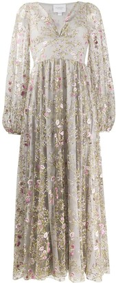 Giambattista Valli All-Over Floral Embroidered Dress With Sheer Puff Sleeves