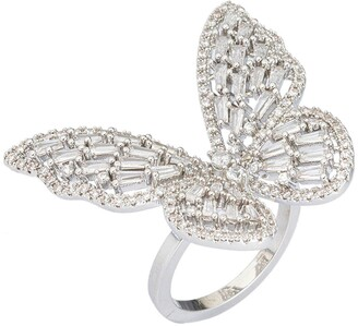 Eye Candy Los Angeles Sterling Silver Plated CZ Butterfly Ring