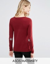 Asos Christmas Jumper With Snowflake Elbow Patch