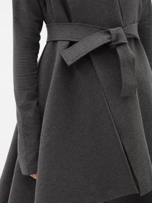 Thumbnail for your product : Norma Kamali Uneven Blanket Belted Cotton-blend Coat - Dark Grey