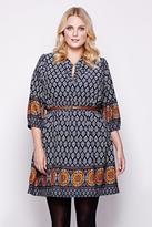 Yumi Curves Tile Print Belt Dress plus size 18-26 Navy
