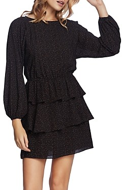 1 STATE Tiered Speckle Print Dress
