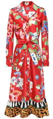 Stella Jean Paneled Printed Shantung Midi Dress
