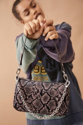 Urban Outfitters Chain Accent Snake Print Shoulder Bag