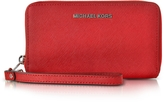 Michael Kors Jet Set Travel Large Flat MF Bright Red Saffiano Leather Phone Case/Wallet