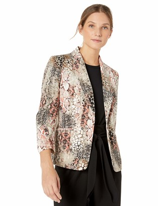 Kasper Women's 1 Button Notch Collar Snake Print Jacket