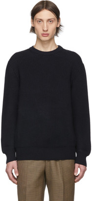 Ermenegildo Zegna Cobra S.C. Navy Wool Baruffa Heavyweight Sweater