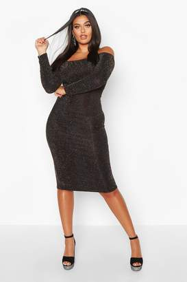 boohoo Plus Shimmer Glitter Off The Shoulder Long Sleeve Midi Dress