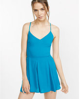Express teal strappy tie-back cami romper