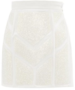 Germanier - Crystal-embellished Upcycled Cotton-blend Skirt - Womens - White