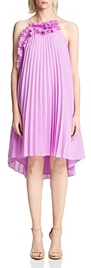 Halston Pleated Ruffled Shift Dress