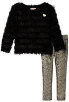 Juicy Couture Eyelash Sweater & Foil Print Pant Set (Toddler Girls)