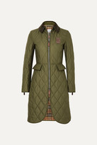 Burberry Corduroy And Leather-trimmed Quilted Shell Coat - Army green
