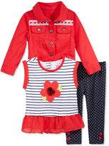 Nannette 3-Pc. Jacket, Peplum Top & Leggings Set, Toddler & Little Girls (2T-6X)