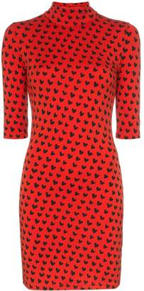 House of Holland x THE WOOLMARK COMPANY heart print high neck fitted merino wool dress