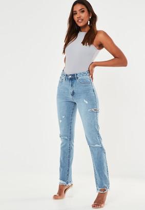 Missguided Tall Blue Slim Straight Highwaisted Thigh Slash Jeans
