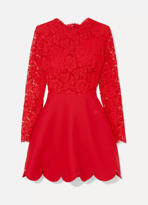 Valentino Guipure Lace And Crepe Mini Dress - Red