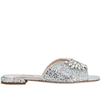 Miu Miu Flat Glitter Sandal With Rhinestone Buckle