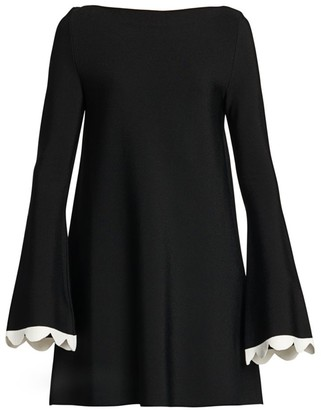 Valentino Scalloped Trumpet-Sleeve Knit Top
