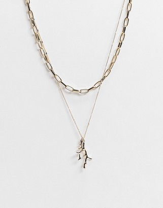 Topshop multirow necklace with filigree pendant in gold