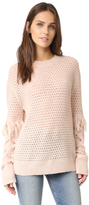 Tanya Taylor Cable Lace Naomi Fringe Sweater