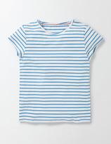 PJ T-Shirt Ivory/ Bright Bluebell Stripe Girls Boden