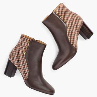 Talbots Lilia Side-Button Booties - Leather & Tweed
