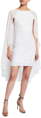 ONE33 SOCIAL Sequin Mini Dress with Draped Cape