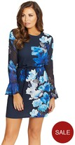 Jessica Wright Long Sleeve Floral Jersey Shift Dress With Tie Belt - Blue