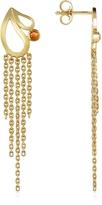 Sho London Mari Splash Fringe Earrings w/ White Crystal