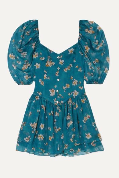Caroline Constas Quinn Floral-print Silk-chiffon Mini Dress