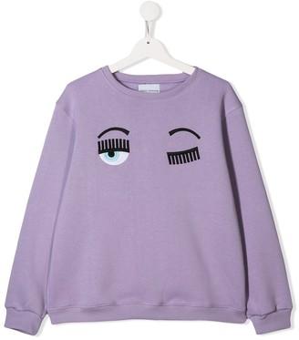 Chiara Ferragni Kids TEEN Flirting embroidered sweatshirt