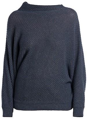 Agnona Twisted Mockneck Cashmere & Linen Knit Sweater