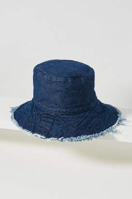 Anthropologie Cassie Fringed Denim Bucket Hat
