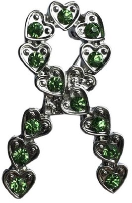 Eyewearstraps NEW Design Green Crystal Silver Heart Ribbon Brooch Pin Mental Health Awareness