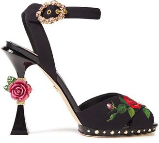Dolce & Gabbana Embellished Floral-print Crepe Platform Sandals