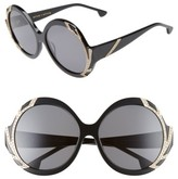 Alice + Olivia Women's Stacey Crystal 59Mm Gradient Lens Round Sunglasses - Black