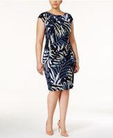 Connected Plus Size Floral-Print Faux-Wrap Dress