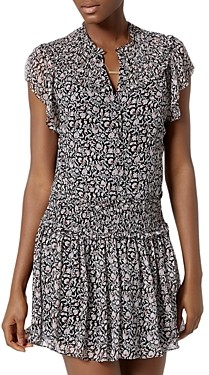Joie Andric Smocked Floral Silk Mini Dress