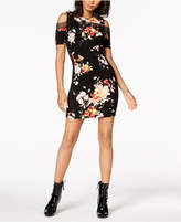 Material Girl Juniors' Printed Lace-Trimmed Cold-Shoulder Bodycon Dress, Created for Macy's