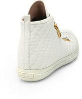 Miu Miu Leather Double-Zip High-Top Sneakers