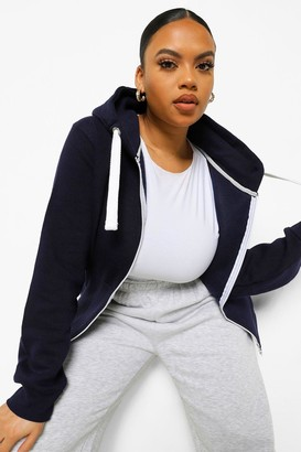 boohoo Plus Zip Through Hooded Sweat