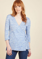 ModCloth Wrap Recognition Knit Top in Glacier in XS