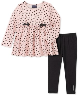 Calvin Klein Jeans Baby Girls 2-Pc. Polka Dot Logo-Print Tunic & Leggings Set