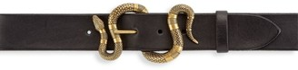 Gucci Snake Buckle Leather Belt