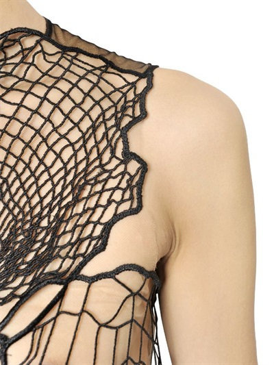 Christopher Kane Cobweb Lace And Tulle Long Dress