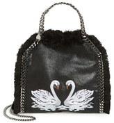 Stella McCartney 'Mini Falabella - Shaggy Deer' Embroidered Faux Leather Crossbody Bag - Black
